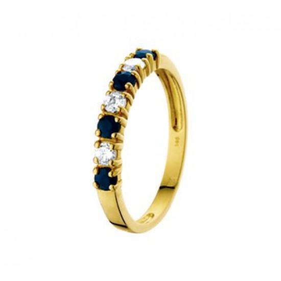 14k gouden ring saffier en zirkonia - 604159